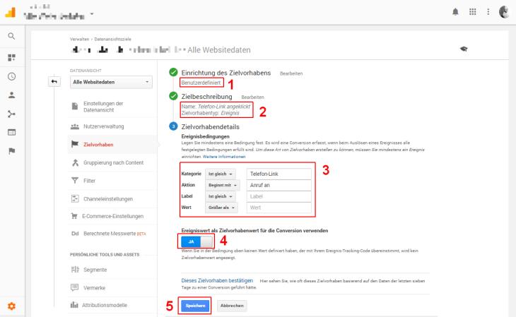 Google Tag Manager Definition Zielvorhaben