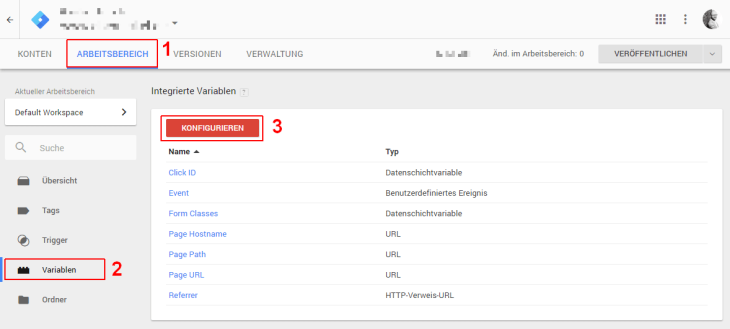 Google Tag Manager Variabeln einrichten