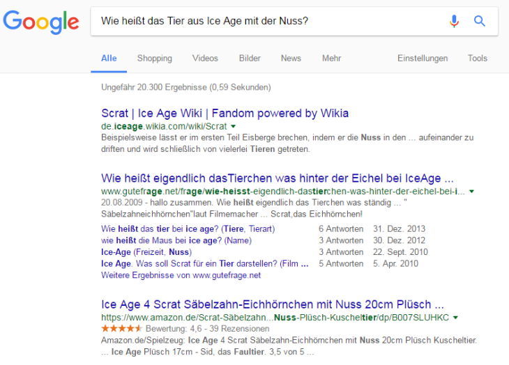 Beispielsuche Google für Ice Age Tier
