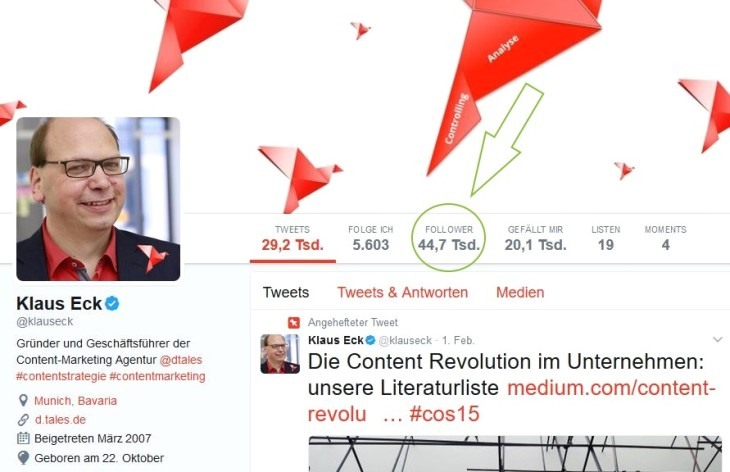 Screenshot Klaus Eck Twitterprofil