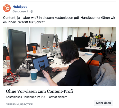 Screenshot Hubspot Content
