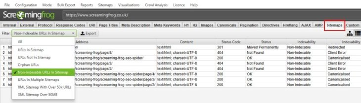 Screenshot Screaming Frog Sitemaps