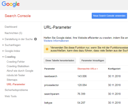 Screenshot Google Search Console URL-Parameter