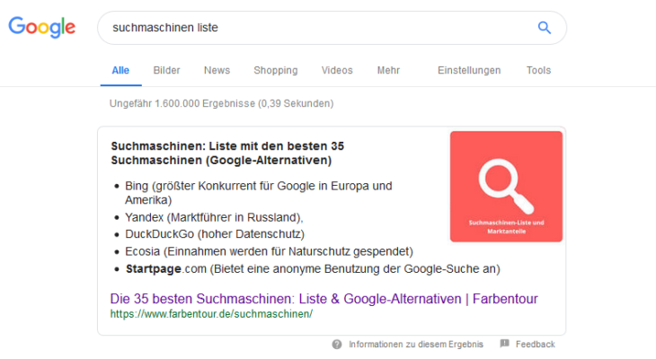 Antwortbox bei Google