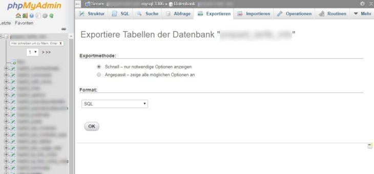 Screenshot Datenbankverwaltung phpMyAdmin