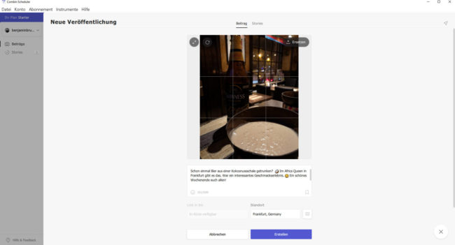 Screenshot: Combin Scheduler - Instagram-Beitrag planen