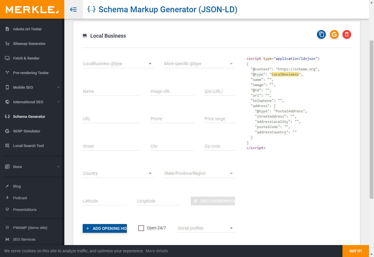 Screenshot des Schema Markup Generators