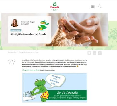 Screenshot Frosch Blog